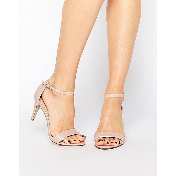 Carvela Kiwi Barely There Heeled Sandals (€71) ❤ liked on Polyvore featuring shoes, sandals, nude synthetic, heeled sandals, nude sandals, nude heel sandals, synthetic shoes and mid heel shoes