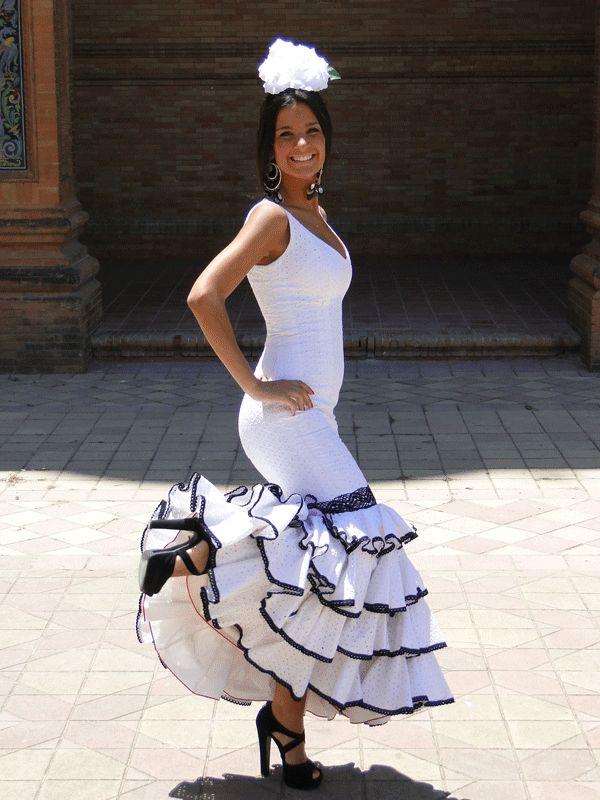 TVTUBE Turismo Virtual: Gif animado traje de flamenca blanco detalle volan...