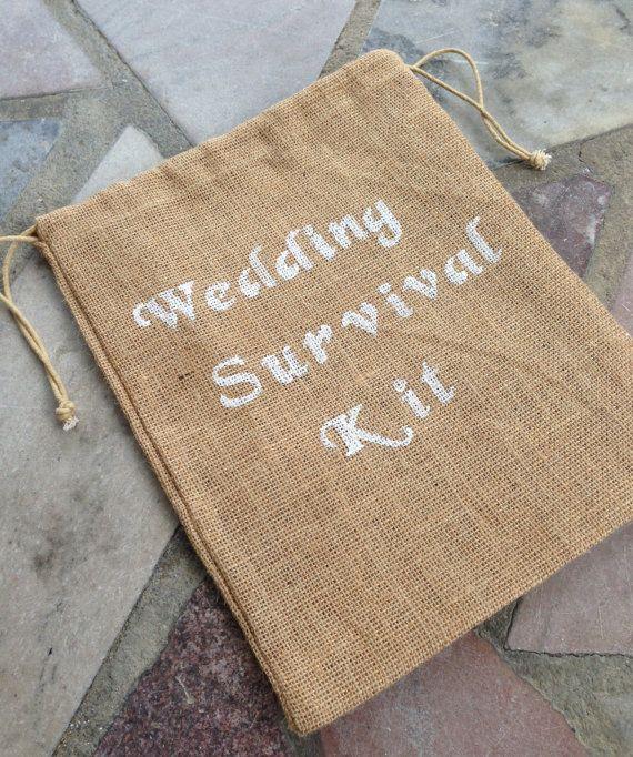 Wedding Survival Kit  Burlap Bag  Wedding  by KrystlesWeddings, $5.75 Brand New Just Listed
