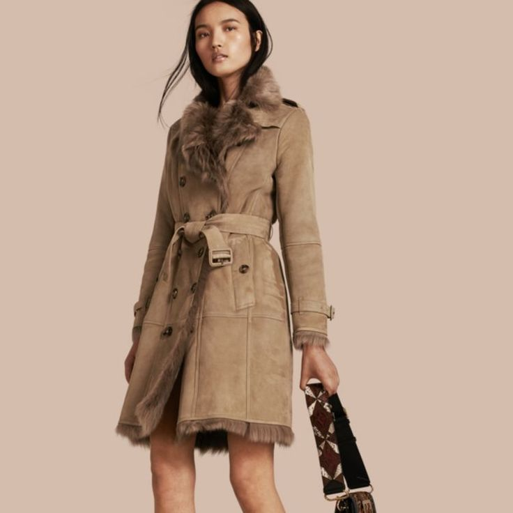 Burberry Shearling+Trench+Coat