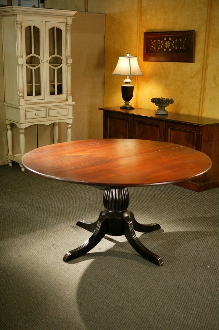 kitchen tables round custom kitchen tables Round Kitchen Tables With Black Fluted Pedestal