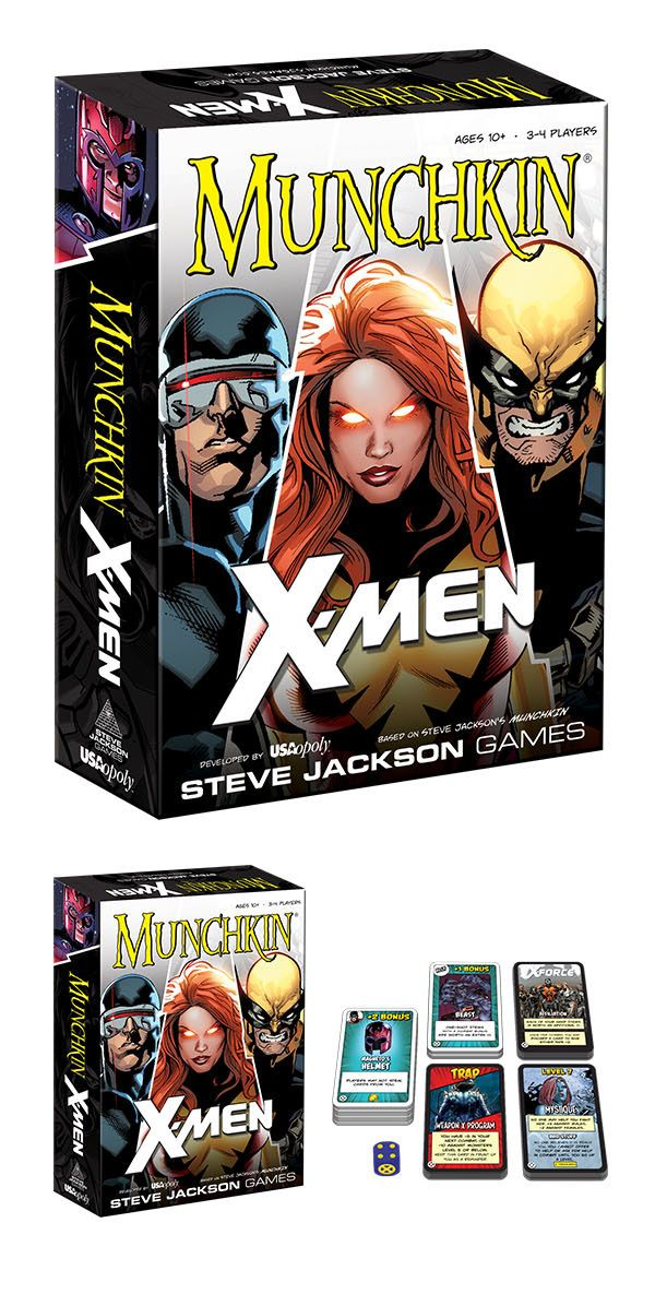 In Munchkin: X-Men Edition, players take on the role of young mutants enrolled at Xavier's School of Gifted Youngsters, starting at Level 1, and work their way up to Level 10 to graduate at the head of their class. Players gain levels by defeating iconic Marvel villains, recruiting Allies such as Wolverine, declaring an X-Affiliation, and using special Powers and Items like Silver Samurai's Katana.