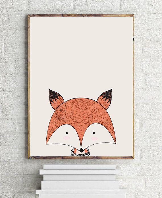 Fox Nursery Poster Fox Digital Print Fox Kids by AYAKAstudio