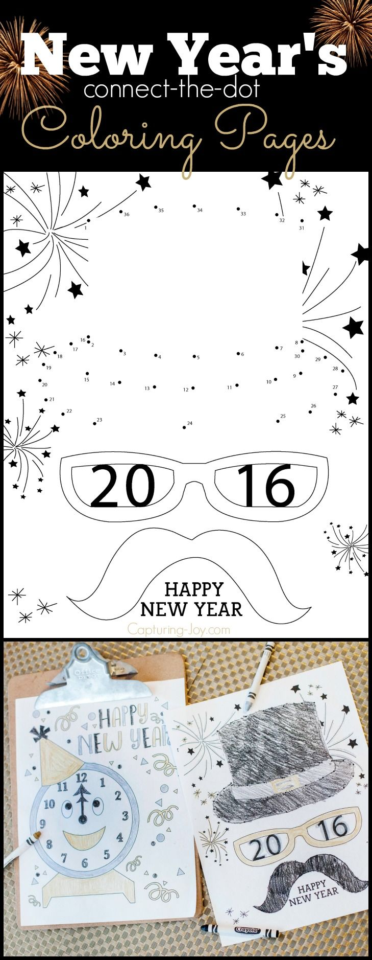 Free printable New Years Connect the Dot coloring pages! Perfect for kids! Grab it on Capturing-Joy.com