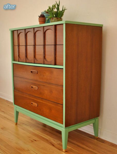 A great way to get a pop of color on furniture without painting over all the beautiful wood.