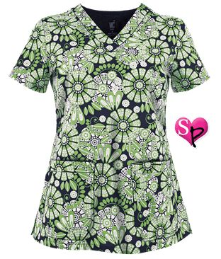 Med Couture MC² Scrubs Petals Aplenty Print Top