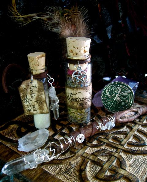 Faery Blessing Kit  Wand Herbal Blend Magic Dust by EireCrescent, $42.99