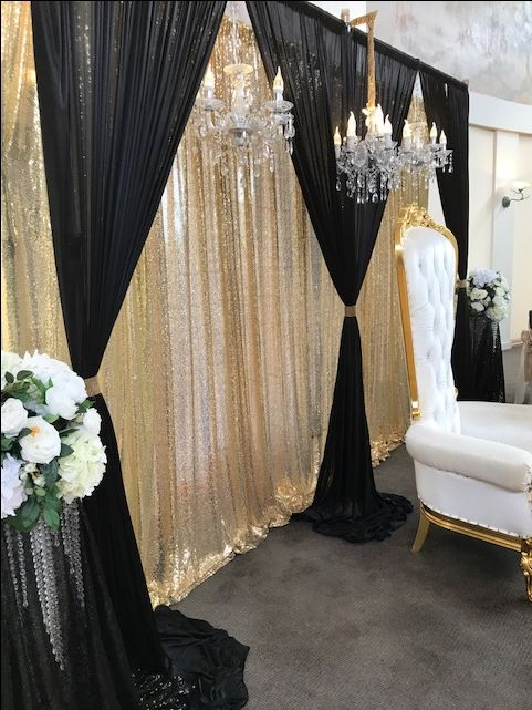 3d Bridal Table Backdrop Black And Gold 6m By 3m In 2019