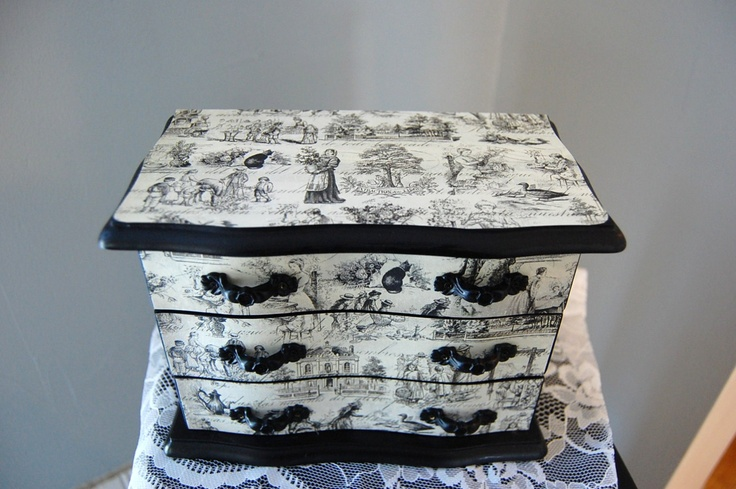 Black Toile Jewelry Box. $45.00, via Etsy.