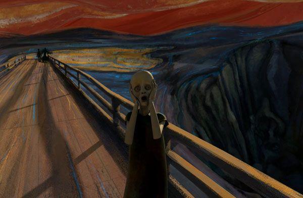O GRITO de Edvard Munch ganha vida nas mãos de Sebastian Cosor - clica na foto pra ver o vídeo ;)