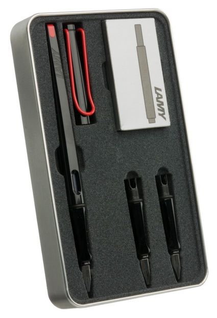 This Lamy Joy Calligraphy Set contains a LAMY joy fountain pen, three exchangeable stainless steel nibs (widths: 1.1, 1.5 and 1.9 mm), a package with 5 ink cartridges and a brochure. The LAMY joy is a fountain-pen that inspires beautiful, creative writing. Thanks to its ergonomic design, it sits comfortably in the hand. Made of black shiny plastic with an ergonomic grip section and a flexible clip of spring brass wire. Features a cartridge filling system with ink cartridge LAMY T10 (can be…