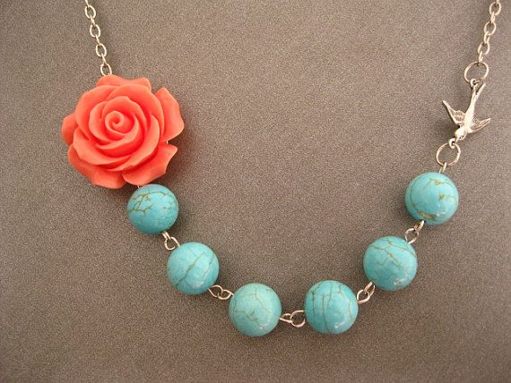 Peach Rose And Turquoise Bead Necklace Silver Swallow <3