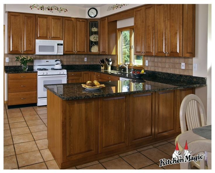 Harvest Gold Cherry Wood Cabinets. Granite Countertop. by ...