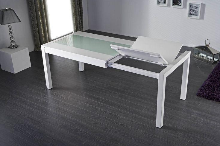 Mesa de comedor moderna laca blanca Zaira - Mesas de Comedor Modernas - Muebles de Comedor Modernos.