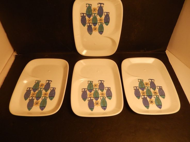 "This set of 4 Figgjo Flint Clupea snack plates are in good condition with no chips or cracks and measures approx. 6 1/2"" wide by 8 7/8"" long and they are all marked on the bottom (see photo). 
