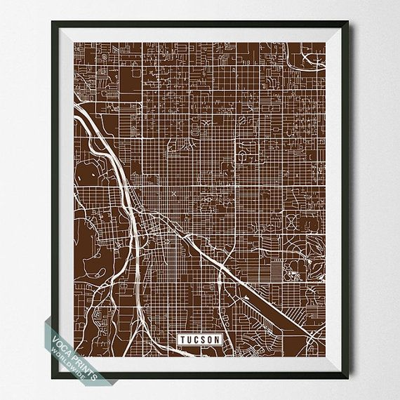 Tucson Print Arizona Map Tucson Map Tucson Poster by VocaPrints