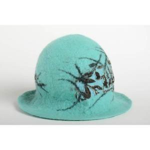 Ensemble de vêtements Chapeau fait main Bonnet en laine feutrée turquois