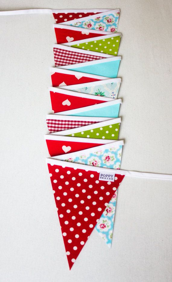 Fabric bunting by PoppyDesignShop on Etsy, kr205.00