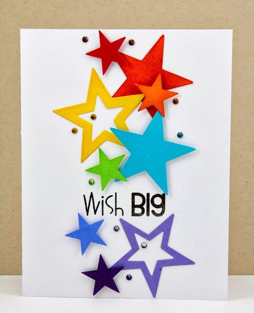 What a fun handmade birthday card!  Bright and colorful cut out stars and star outlines and rhinestones will bring joy to the birthday party.