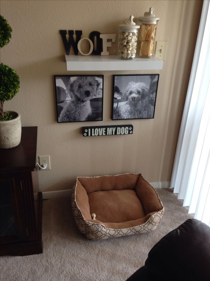 My own DIY pet corner! My puppy has his own space now in our home! Poster B&W prints from Staples and decor from Target!