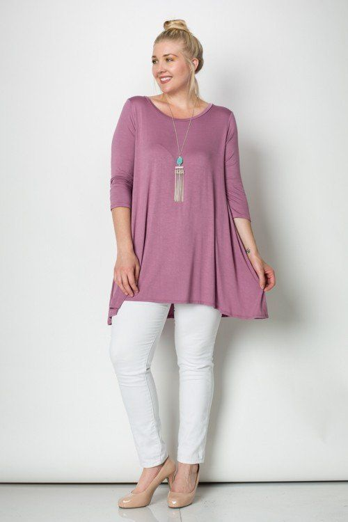 RE-STOCKED - Try our comfortable and trendy plus size tops to flatter every figure. 3/4 Sleeves A-Line Tunic Plus Size Top 95%RAYON 5%SPAN MADE IN USA