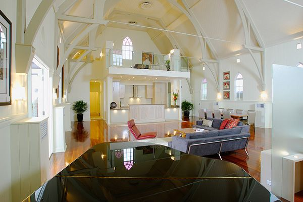 This old church in Brisbane, Australia has been remodeled into a Bonney Avenue Residence by Willis Greenhalgh Architects.