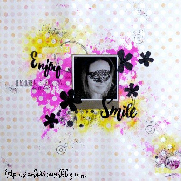 Smile par Sixela Tampons utilisés : 270C02, 264E05, 266F01, 129B12, 210C06, 005D13, 266F01 Badge utilisé : BA00088