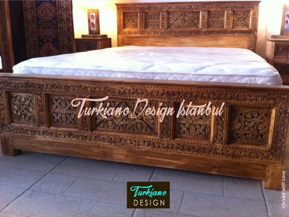 Orient Antique Look Hand Carved Bed Single Quenn Kingsize With Images Carved Beds Master Bedroom Headboard Ideas Handmade Headboards