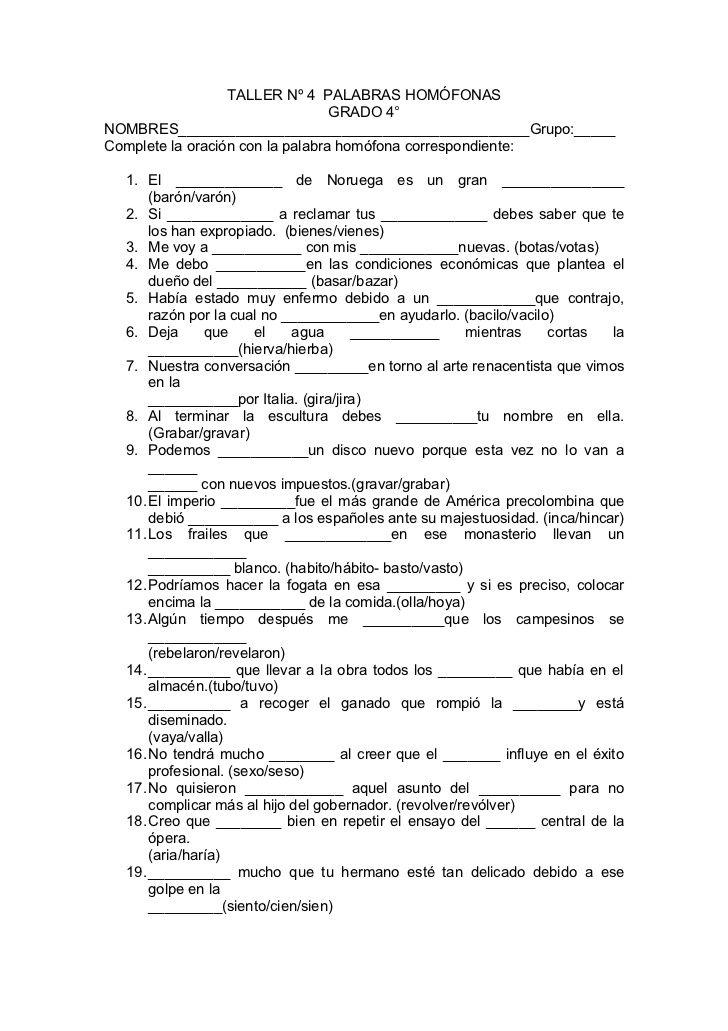 Resultado de imagen para ejercicios de palabras homonimas | plantas ...