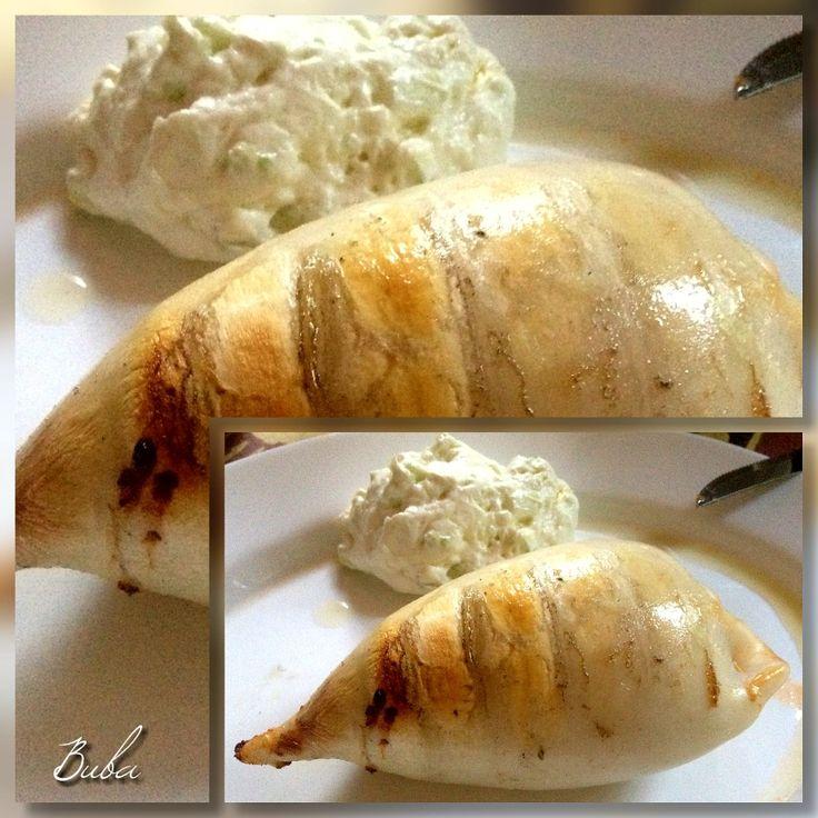 Stuffed Squid with Feta & fresh Red Caviar