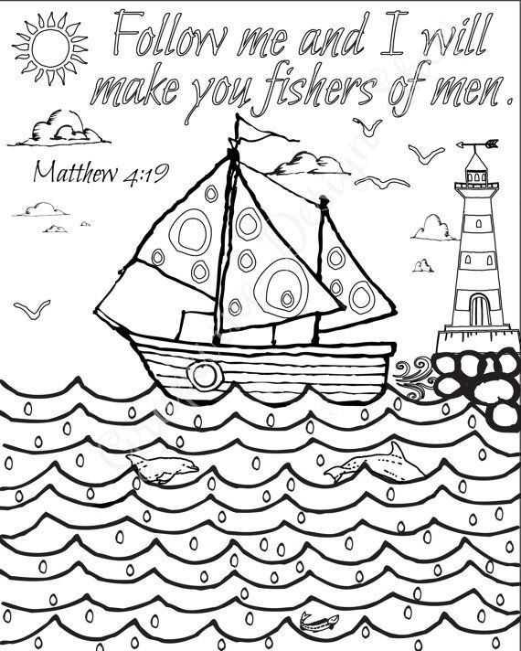 Bible verse coloring pages Set of 5 Beach Instant