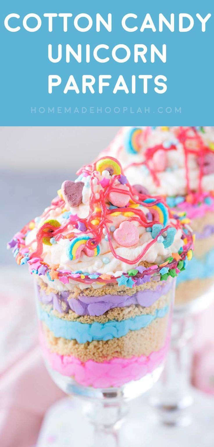 Cotton Candy Unicorn Party Parfaits! Ride the rainbow craze with this unicorn party dessert made with cotton candy flavor whipped cream, crushed golden Oreos, and Lucky Charms marshmallows. | http://HomemadeHooplah.com