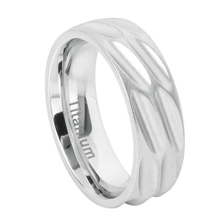 8mm White Titanium Brushed Flat Scooped Design Ring