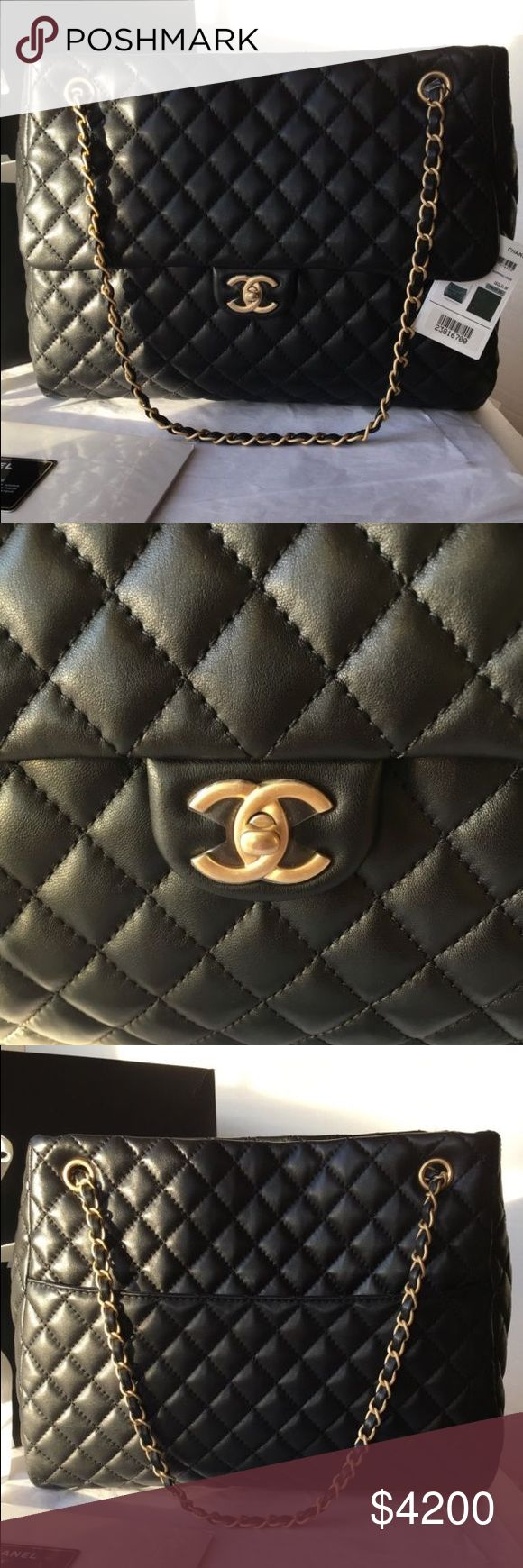 Chanel Classic Jumbo Maxi Flap Lambskin Tote Bag Brand New 100% Authentic Chanel Classic CC Fluffy Jumbo Maxi Flap Bag GST Shopper Tote Lambskin CHANEL Bags Totes