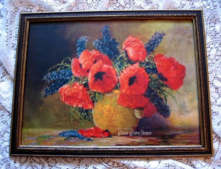 Poppies Delphiniums Print Max Streckenbach Original Frame ...