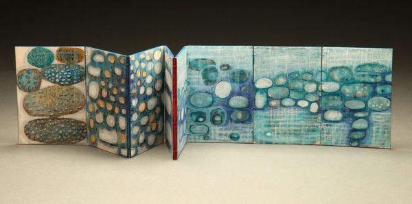 "Karen Kunc - Vastness 2011 unique bookwork: watercolor on basswood, sewn binding, poem by Walt Whitman 6"" x 4"" folded, 6"" x 32"" unfolded"