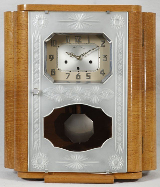 art deco westminister chiming walnut wall clock  c  1940