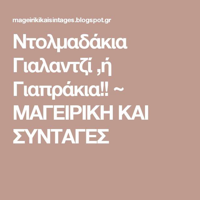 Ντολμαδάκια Γιαλαντζί ,ή Γιαπράκια!! ~ ΜΑΓΕΙΡΙΚΗ ΚΑΙ ΣΥΝΤΑΓΕΣ