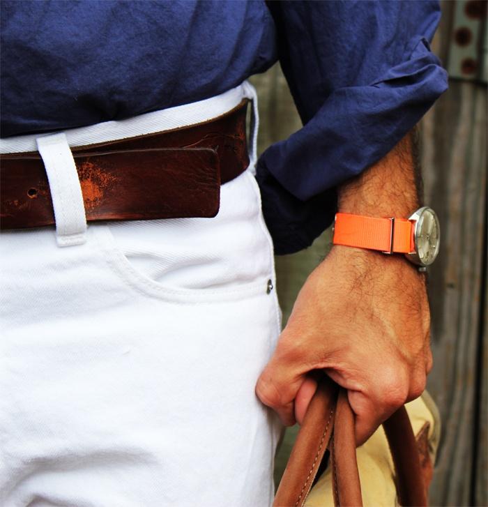 Men Looks, Orange Watches, Future Husband, Watches Band, Men Fashion, Orange Band, Gentleman Style, White Jeans, Leather Bags