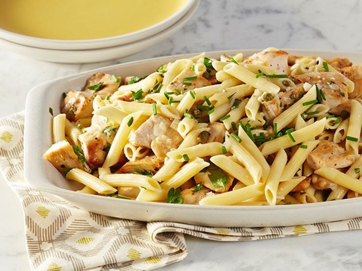 Chicken Piccata Pasta Toss recipe from Rachael Ray via Food Network. Bread chicken before pan frying