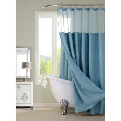 Dainty Home Hotel Shower Curtain with Detachable Liner Aqua - CSCDLAQ