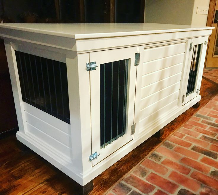 Modern Indoor Dog Kennel. Sherwin Williams Ballet white finishes off this double large dog kennel. Design yours with us today.