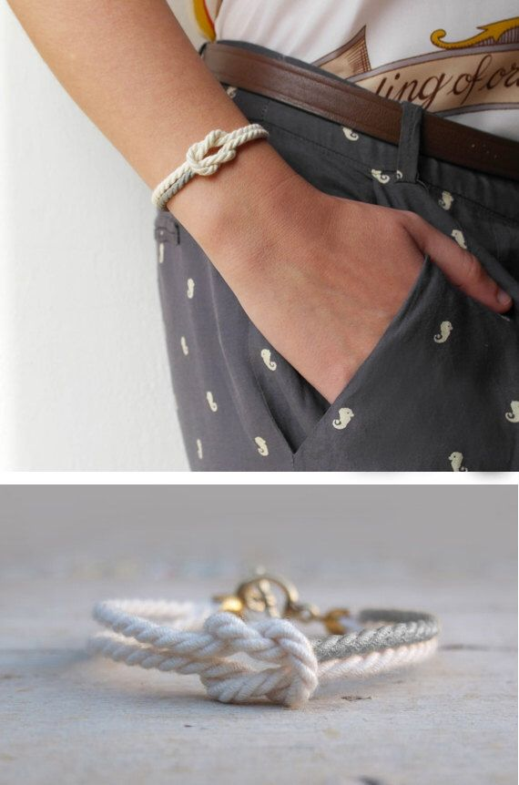 Spring bracelet friendship white cord and silver Infinity bracelet marine knot jewelry - MANEGE by AMEjewels on Etsy https://www.etsy.com/listing/220372717/spring-bracelet-friendship-white-cord