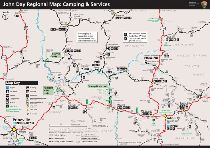 John Day regional campground map showing Campgrounds and Service map shows a map of the known campgrounds near the three units of the monument as well as services available in towns. No camping is permitted in the three units of the monument.