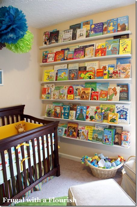 I love this wall of floating shelves in the nursery but it could work for any bedroom or home office.