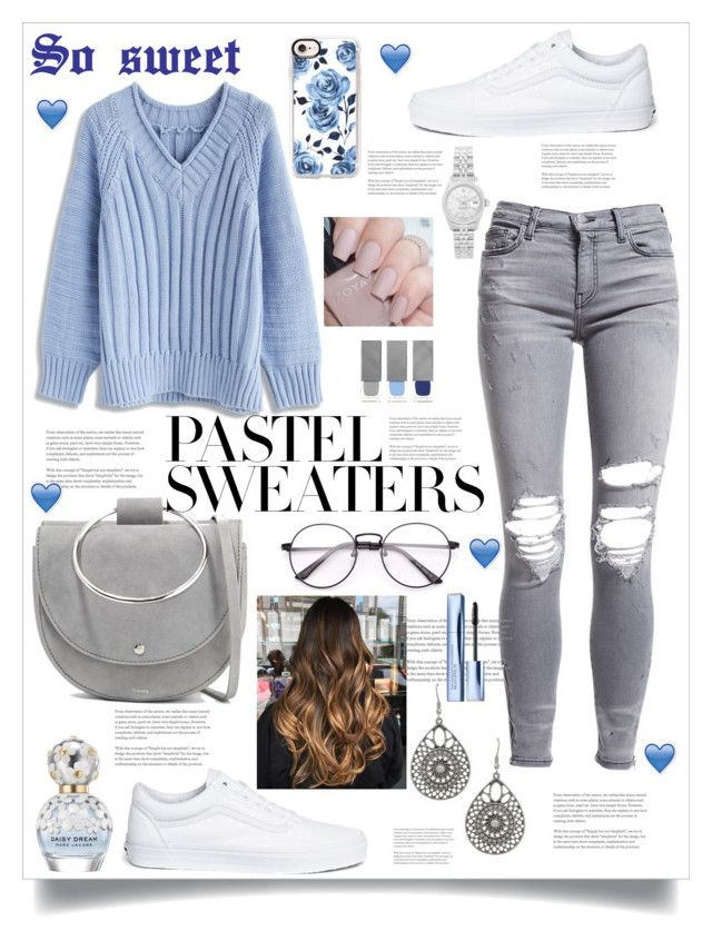 """""""#Soo sweet Pastel sweaters💙"""" by deepikakataria ❤ liked on Polyvore featuring Chicwish, AMIRI, Vans, Theory, Casetify, Estée Lauder, Marc Jacobs, Rolex, Burberry and pastelsweaters"""