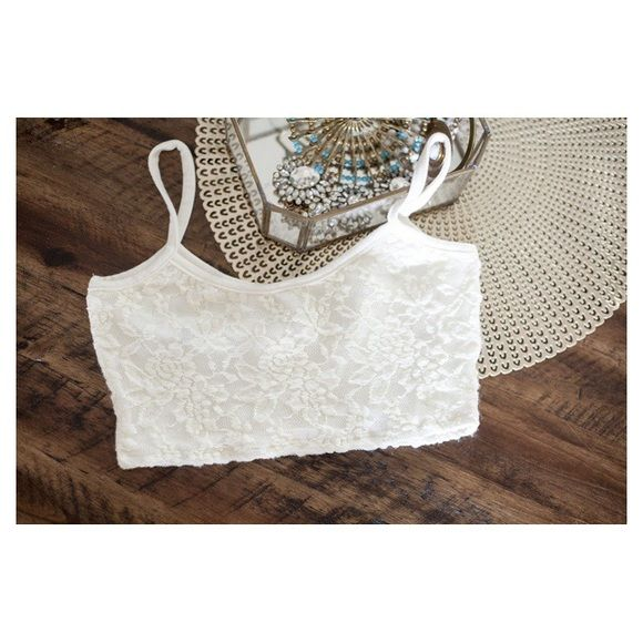 white lace bralette brand new lace bralette with tag.  Frenchi Intimates & Sleepwear Bras