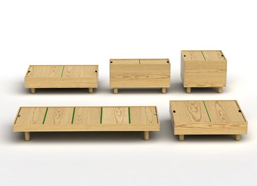Jasper Morrison  The Crate Series 2007  Five storage units made from yellow pine with coloured fabric hinges which can be used as tables cabinets and a spare bed.