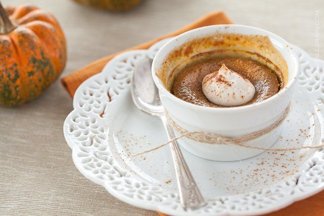 A recipe for dairy free maple pumpkin custard with crystallized ginger.