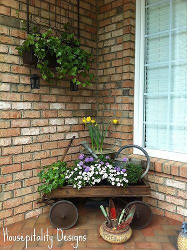 vintage wagon planter